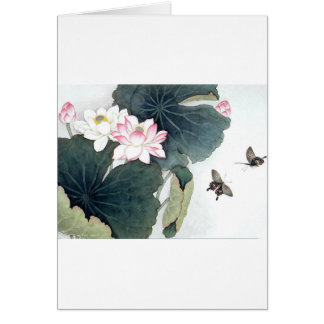 Asian Lotus Leaf Pink Flower Butterfly Art Cool Card