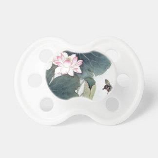 Asian Lotus Leaf Pink Flower Butterfly Art Cool Pacifier