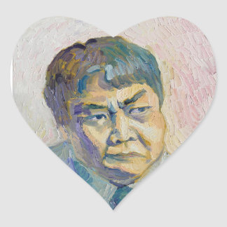 asian man heart sticker