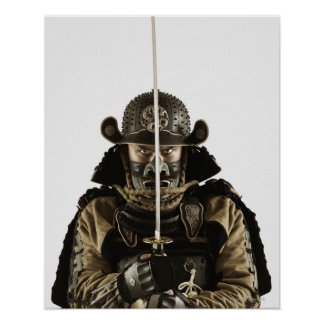 Asian man wearing samurai armor poster