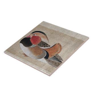 Asian Mandarin Duck Bird Animal Art Tile