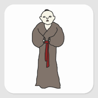 Asian Monk Square Stickers