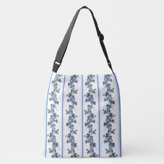 Asian Morning Glory Flowers Birds Blue Tote Bag