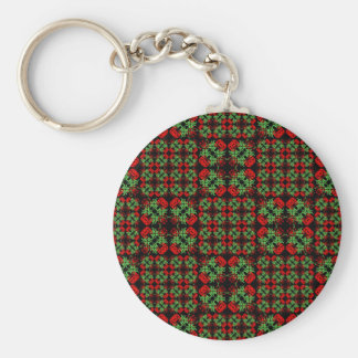 Asian Ornate Patchwork Pattern Basic Round Button Keychain