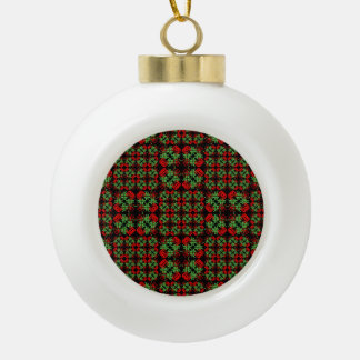 Asian Ornate Patchwork Pattern Ceramic Ball Christmas Ornament