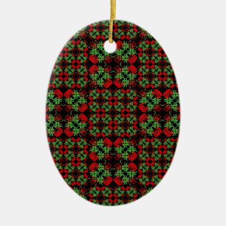 Asian Ornate Patchwork Pattern Ceramic Ornament