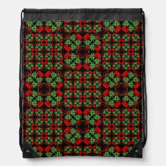 Asian Ornate Patchwork Pattern Drawstring Bag