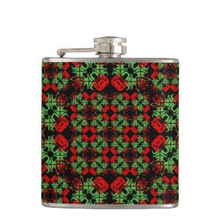 Asian Ornate Patchwork Pattern Hip Flask