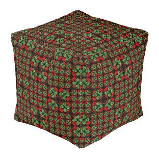 Asian Ornate Patchwork Pattern Pouf