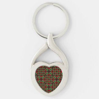 Asian Ornate Patchwork Pattern Silver-Colored Twisted Heart Keychain