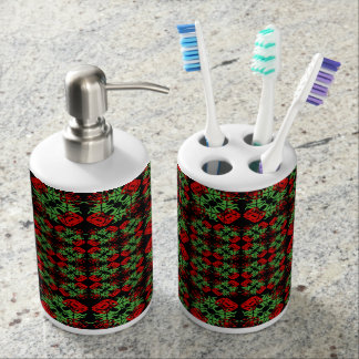 Asian Ornate Patchwork Pattern Soap Dispenser And Toothbrush Holder