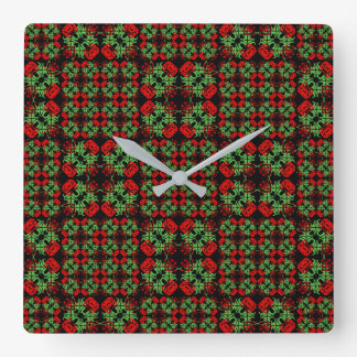 Asian Ornate Patchwork Pattern Square Wall Clock