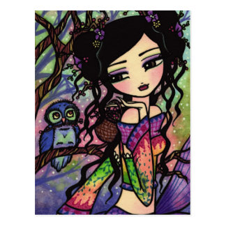Asian Owl Berry Mermaid Fairy Fantasy Art Girl Postcard