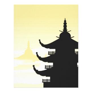 Asian Pagoda Silhouette at Dawn Letterhead Design