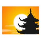 Asian Pagoda Silhouette at Dusk Postcard
