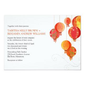 Asian Paper Lanterns White Wedding Invitation