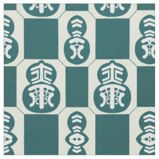 Asian pattern in teal fabric