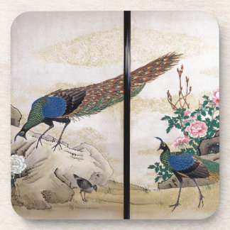 Asian Peacock Birds Animals Flowers Coaster