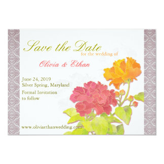 Asian Peony + Damask Floral Wedding Save the Date Card