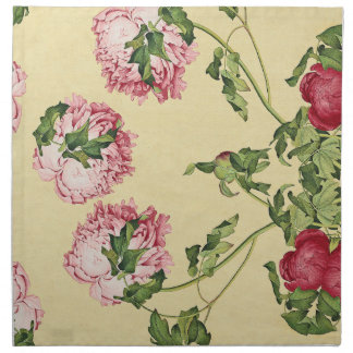 Asian Pink Peony Flowers Leaves Cloth Napkins