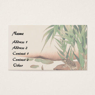 Asian Pond Frog Bamboo Leaves Business Card