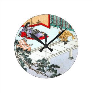 Asian Princess Round Clock