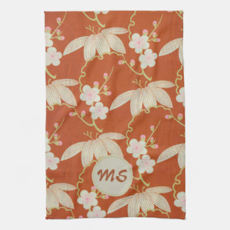 Asian Red and Cream Floral Monogram Kitchen Towel