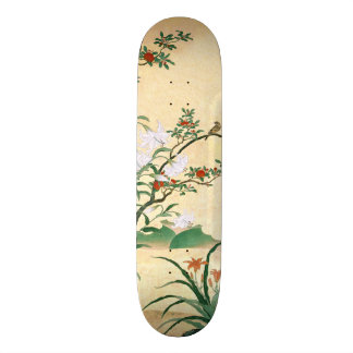 Asian Red Roses White Lilies Bird Skateboard