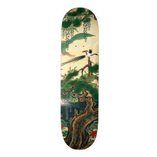 Asian Red Roses Wisteria Floral Bird Skateboard