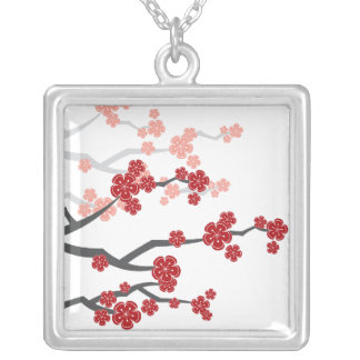 Asian Red Sakura Oriental Cherry Blossoms Necklace
