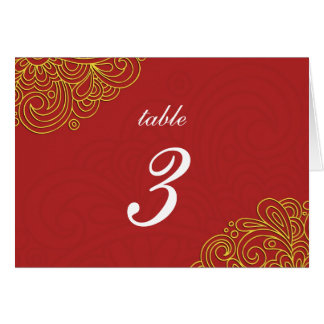 Asian Red Swirl Damask Wedding Table Number Card