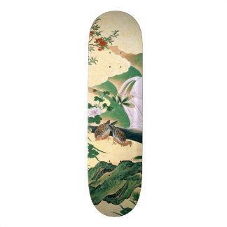 Asian Roses Dove Birds Waterfall Skateboard
