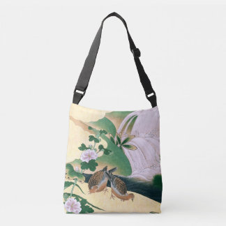 Asian Screen Dove Birds Floral Stream Tote Bag