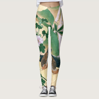 Asian Screen Doves Flowers All Over Print Leggings