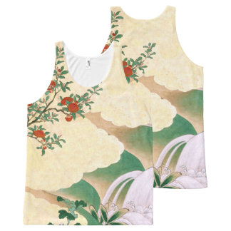 Asian Screen Red Rose Flowers Tank Top