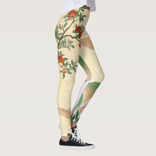 Asian Screen Rose Flowers All Over Print Leggings
