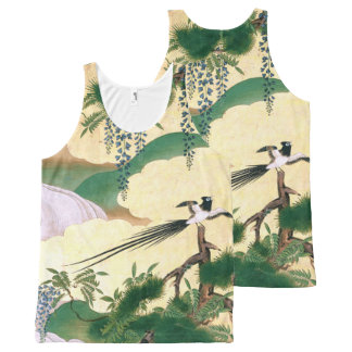 Asian Screen Wisteria Flowers Bird Tank Top