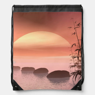 Asian steps to the sun - 3D render Drawstring Bag