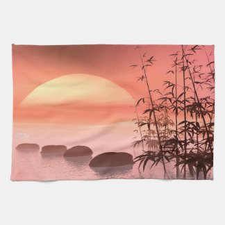 Asian steps to the sun - 3D render Kitchen Towel