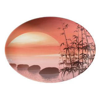 Asian steps to the sun - 3D render Porcelain Serving Platter