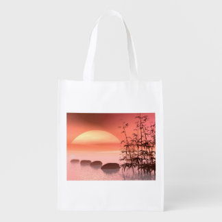 Asian steps to the sun - 3D render Reusable Grocery Bag