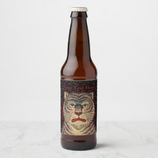 Asian Striped Tiger Fierce Looking Face Red Dots Beer Bottle Label