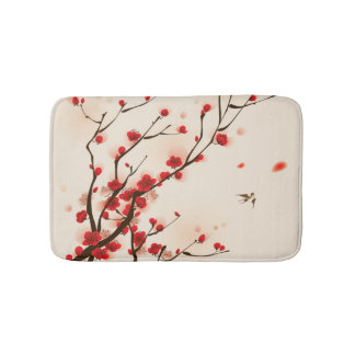 Asian Style Painting, Plum Blossom in Spring Bath Mat