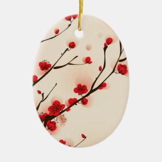 Asian Style Painting, Plum Blossom in Spring Ceramic Oval Ornament