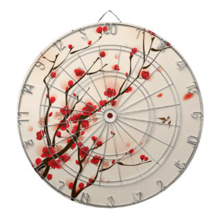 Asian Style Painting, Plum Blossom in Spring Dartboard