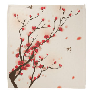 Asian Style Painting, Plum Blossom in Spring Head Kerchief
