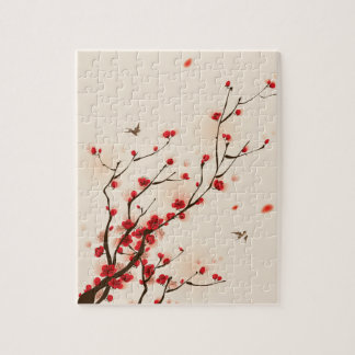 Asian Style Painting, Plum Blossom in Spring Jigsaw Puzzle
