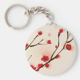 Asian Style Painting, Plum Blossom in Spring Keychain