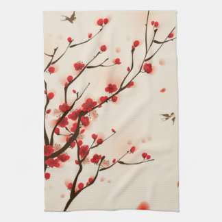 Asian Style Painting, Plum Blossom in Spring Kitchen Towel