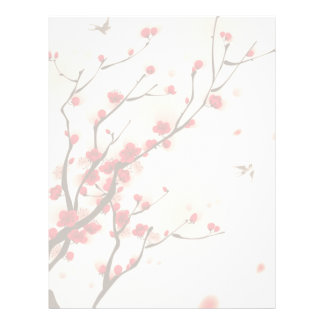 Asian Style Painting, Plum Blossom in Spring Letterhead